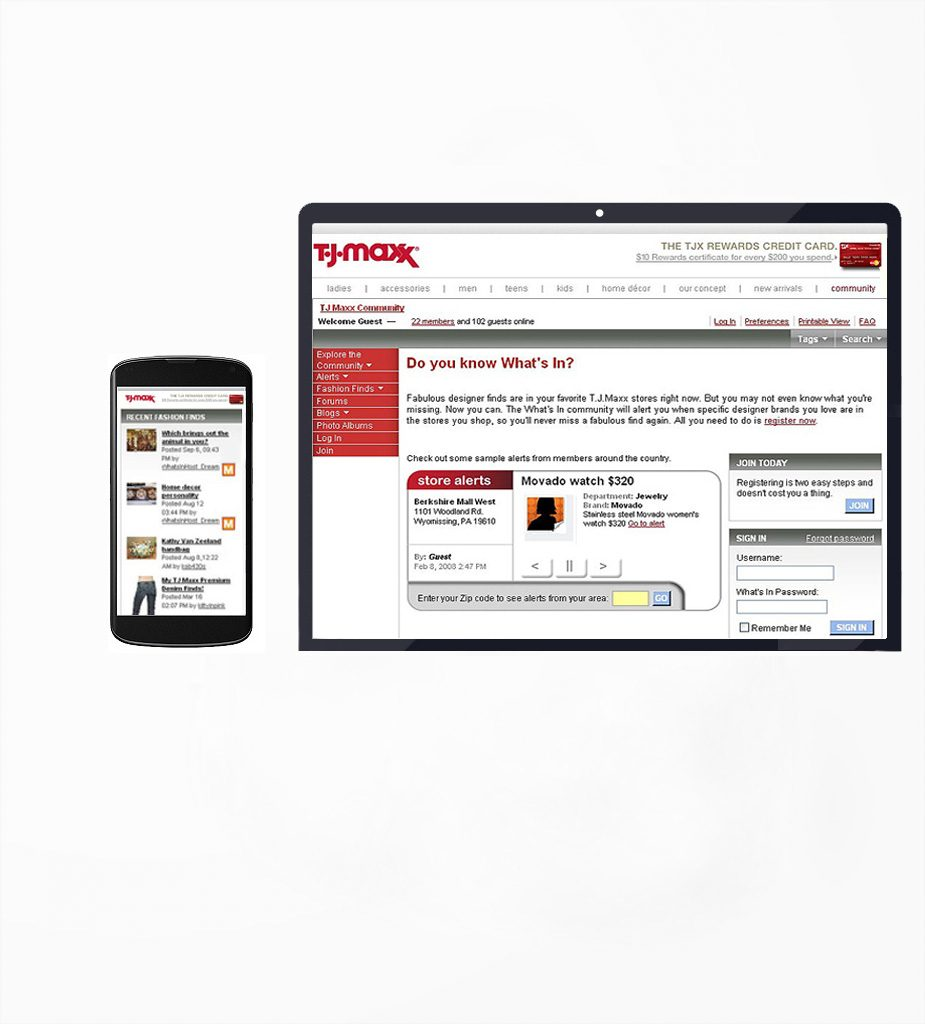 TJ Maxx Inc. - Mobile Responsive Web Development & Content Production